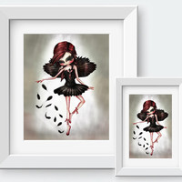 Black Swan - Gothic Art Print by Lost Colours