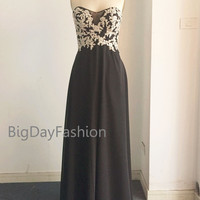 Prom Gown, Black Silver Lace Chiffon Prom Dress, Strapless Sweetheart Long Formal Dress, Wedding Party Dress, Floor Length Bridesmaid Gown