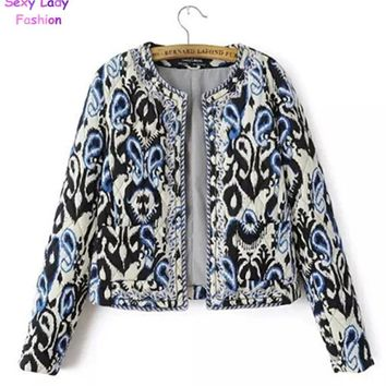 Trendy Ethnic Embroidery Beading Totem Print Paisley Quilted Jacket Fashion Women's Vintage Thin Padded Long Sleeve Coat Suits AT_94_13