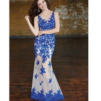 Royal Blue & Nude Floral Lace Applique Sheer Gown