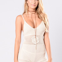 Cactus Queen Romper - Natural