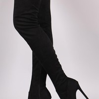 Suede Peep Toe Stiletto Over-The-Knee Boots
