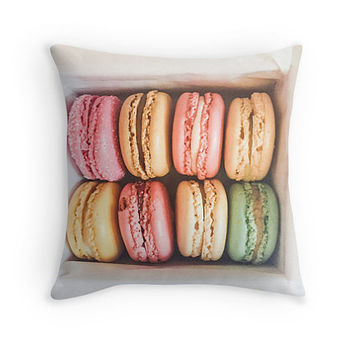 Paris Macaron Throw Pillow includes insert - Paris, Pastel home decor