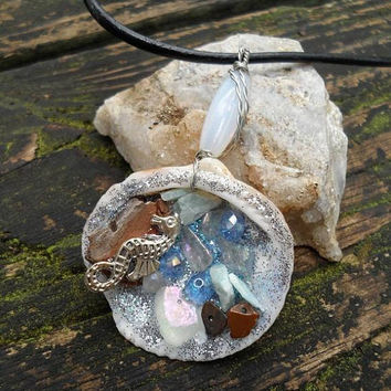 Mermaid Seashell Necklace - Leather Necklace - Mermaid Treasure - Seahorse - Crystal Necklace - Jade - Tigers Eye - Moonstone - Opalite #540