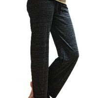 Women's Eco-Heather Long Pant with Black Heart (Small, Eco-Black)