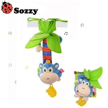 1pcs Sozzy 40cm Multi Function Baby Rattle Bell Infant Baby Crib Stroller Stuffed Monkey Doll Hanging Toy Early Educationa