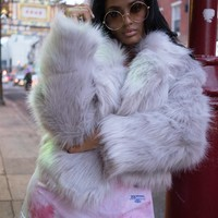 Otter Pop Faux Fur Crop Jacket