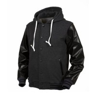 Angel Cola Charcoal & Black Hoodie Varsity Cotton & Synthetic Leather Baseball Letterman Jacket (Medium)
