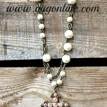 Pink Panache AB Crystals on Bronze Scroll Cross on Pearl and Chain Necklace