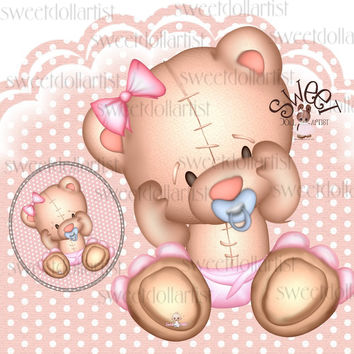 My Teddy 2- Clipart + Button jpg-PDF-png