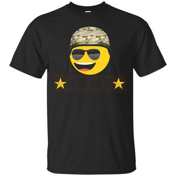 Funny Army and cute Emoji T-shirt_Black