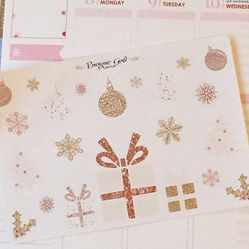 Rose Gold Christmas ornaments snowflakes present planner stickers Erin Condren