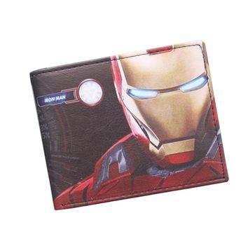 Avengers Iron Man Wallet Marvel Super Hero Purses Leather Small Anime Wallet Bag Credit ID Card Holder Red Wallet For Boys Girls