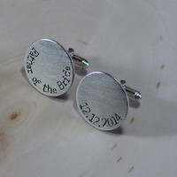 Sterling silver Father of the Bride round cuff links