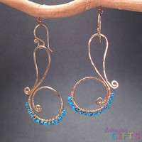 "Hammered swirls wrapped with turquoise, 1-3/4"" Earring Gold Or Silver"