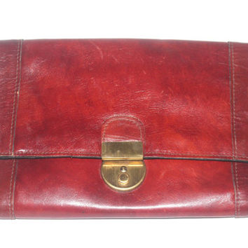 Vintage Italian Maroon Leather Purse Wallet, Large Wallet, Handbag, Astor Bags, Antique Alchemy