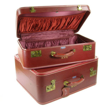 Vintage Burgundy Red American Tourister Luggage Set / Set of Two Suitcases / Storage Suit Case / Home Decor / Travel