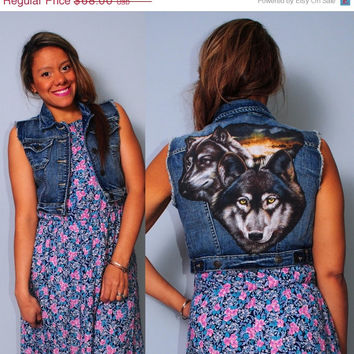 SALE DENIM upcycled tiny fit WOLF cropped denim Vest Jumper animal Hipster Grunge jacket small medium large