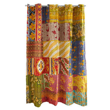 Kantha Shower Curtain | recycled sari, handmade, kantha