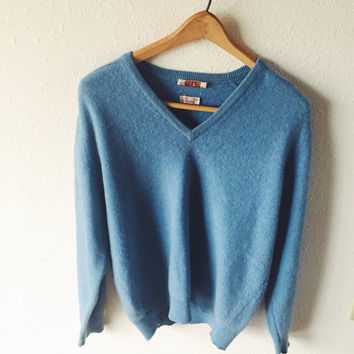 Vintage, Alan Paine, 100% Cashmere, V-Neck Unisex, Baby Blue, Sweater, Europe Size 44, US Size Medium, Long Sleeve, Super Soft
