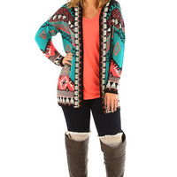 This Must Be Love Cardigan: Turquoise/Coral