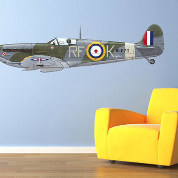 "Vintage World War 2 Airplane Spitfire Wall Decal Vinyl Aviation Sticker 60x16"" Home Decor"
