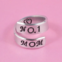 [♡059] NO.1 MOM - Hand Stamped Spiral Ring, Pure Aluminum Ring, Mother Day Gift