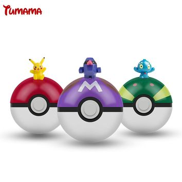 8 Styles Hottest Kids 1Pcs Pokeball + 1pcs Free Random Tiny ABS Fifures Toy Inside Anime Action Toy Figures for Children Toys