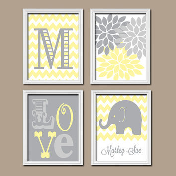 Elephant Nursery Wall Art Yellow Gray Artwork Monog