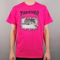 Thrasher Jay Adams Explosive Cover Skate T-Shirt - Pink - Thrasher from Native Skate Store UK