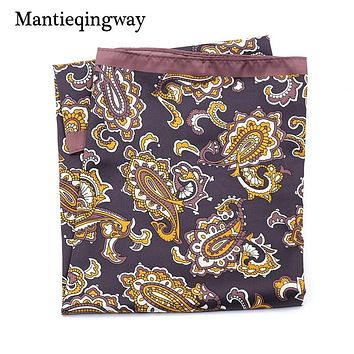 Floral Polyester Pocket Square For Men Big Handkerchief Chest Towel Collar Scarf Pocket Square Hankies