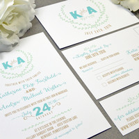 Laurel Monogram Wedding Invitations Turquoise and Mint Wedding Pocket Invite Leaf Wedding Invitation Suite Rustic Wedding Invites Outdoor