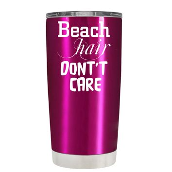 Beach Hair Don't Care on Translucent Pink 20 oz Tumbler Cup