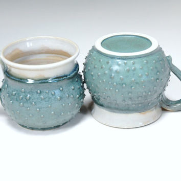 Ceramic mugs,teal pottery mugs,pair of cups,tea lovers gift,clay espresso cups,teal dotted cups,pottery tea cups,two clay teacups