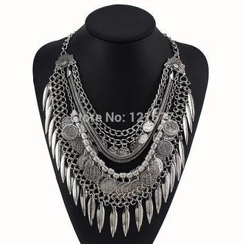 Women Gypsy Necklace Fashion Jewelry Bohemian Antique Silver Coin Necklace Vintage Trendy Turkish Indian Ethnic Necklace 2015
