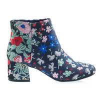 MayDayA Blue Wild Floral Embroidered Color Stitching, Low Chunky Block Heel Ankle Bootie