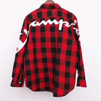 Champion Popular Women Men Casual Plaid Print Long Sleeve Lapel Shirt Top