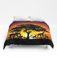 Wild Animals on African Savanna Sunset Comforters by bluedarkatlem