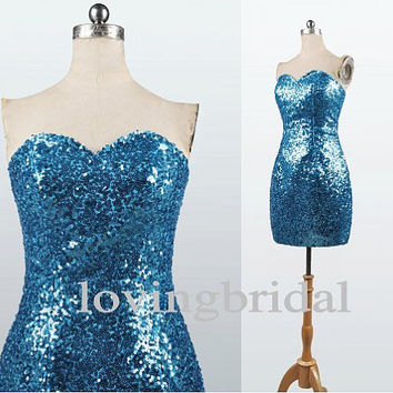 2014 Short Sequins Satin Evening Dress Bridesmaid Dress Prom Dress Wedding Party Dresses Bridesmaid Gown Bridesmaid Dress 2013