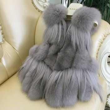 NEW Women Real Fox Fur Vest 100% Wholeskin Natural Green/Grey Fox Fur Gilets Sleeveless Warm Coat Winter Long Waistcoat