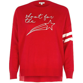 Red knit star embroidered sweater - sweaters - knitwear - women