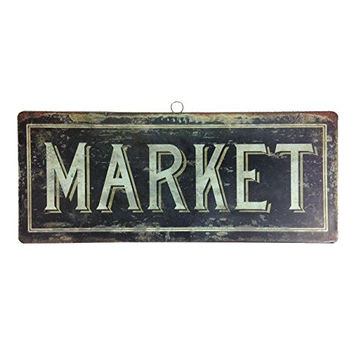 Vintage French Bistro Hanging Tin Sign - 14-in (Market)