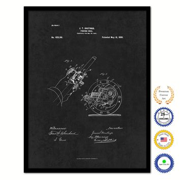 1899 Fishing Reel Vintage Patent Artwork Black Framed Canvas Home Office Decor Great for Fisherman Cabin Lake House