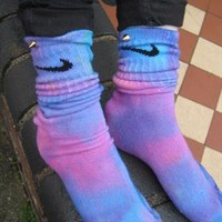 Unique one off tie dye nike studded socks indie grunge trash from ladystardust-2013
