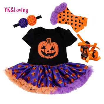 Newest Baby Halloween Party Clothing Sets  Lace 4pcs Sets Pumpkin Ruffle Baptism Romper dress for Girl Newborn 0-2 Years Clothes