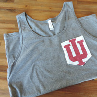 New Unisex Gray Tank Top with Upcycled IU Indiana University Pocket // Size SMALL // Ready to Ship // One of a Kind