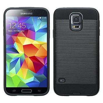 Galaxy S5 Case, Slim Hybrid Dual Layer[Shock Resistant] Armor Case for Samsung Galaxy S5 - Brush Black