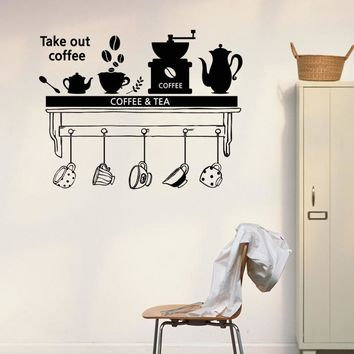 Removable Home decor Wall sticker Coffee Tea Time Dining room Parlour Wall Stickers Kitchen Sticker DIY Home Decor Mural BW-13