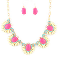 Acrylic Stone Ball Chain Necklace Set-Neon Pink