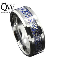 Silver and Blue Celtic Dragon Ring - Queenwish 8mm - Tungsten Carbide